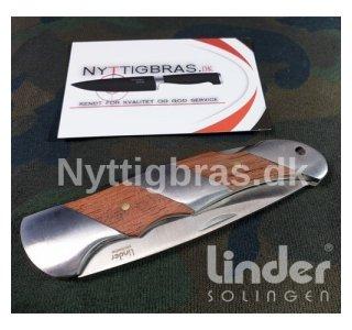 Låsekniv m/håndtag i rustfri stål og træ fra Linder