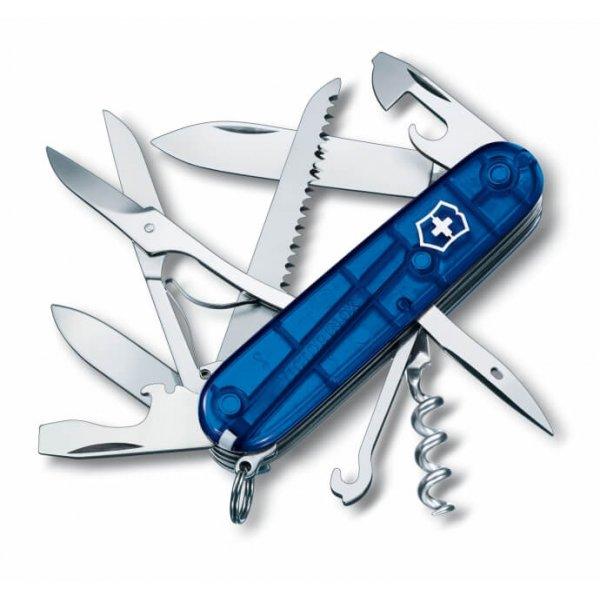Victorinox Lommekniven Huntsman Transparent Blue i udfoldet tilstand